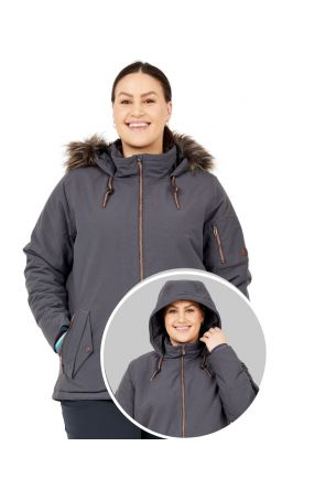 Boulder Gear Halo Womens Plus Size Ski Jacket Granite Sizes 2XL-4XL front