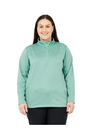 Boulder Gear Nola Performance 1/4 zip bonded fleece plus size layer Willow Sizes 2XL-5XL front