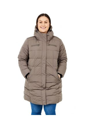 Boulder Gear Norski II Womens Plus Size Long Snow Coat Pebble Brown Sizes 2XL-5XL front