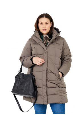 Boulder Gear Norski II Womens Plus Size Long Snow Coat Pebble Brown Sizes 2XL-5XL front