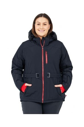 Boulder Gear Regal Belted Womens Plus Size Ski Jacket Black Sizes 2XL-5XL Front