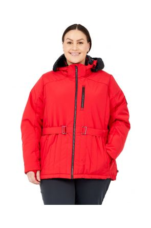 Boulder Gear Regal Belted Womens Plus Size Ski Jacket Crimson Red Sizes 3XL-5XL Front