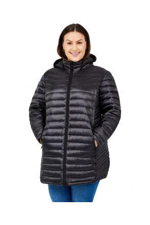 Boulder Gear Stella D-Lite Puffy Womens Plus Size Long Coat Black Sizes 3XL-5XL front