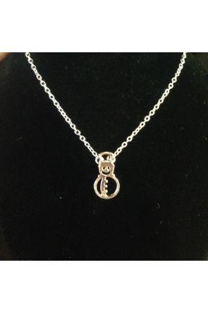 Carolina Silver Plated Flat Snowman Necklace