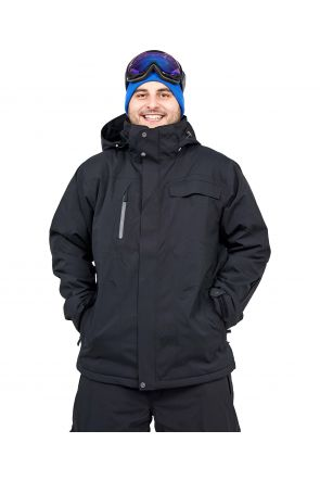 Cartel Baldy Mens Plus Size Ski Jacket Black Stretch 2XL - 9XL FRONT