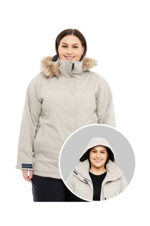 CARTEL BROOKLYN WOMENS PLUS SIZE SKI JACKET STRETCH BEIGE SIZES 18-30