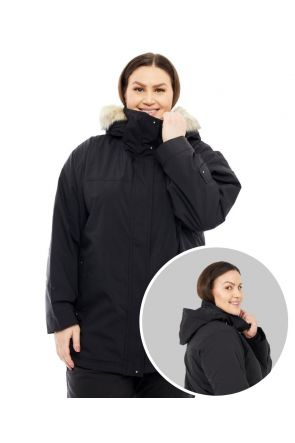 CARTEL BROOKLYN WOMENS PLUS SIZE SKI JACKET STRETCH BLACK SIZES 16-30