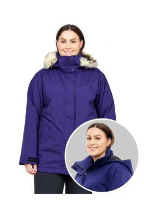 Cartel Brooklyn Womens Plus Size Ski Jacket Stretch Blueberry Navy Size 20-28 FRONT