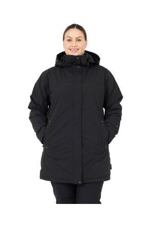 Cartel Brooky Long Womens Plus Size Jacket Black Sizes 16-26 FRONT