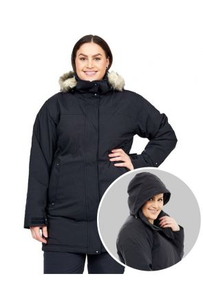 Cartel Brooky Long Womens Plus Size Jacket Black Sizes 16-26 FRONT