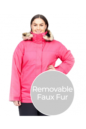 Cartel Soho Womens Plus Size Ski Jacket Pink Heather Sizes 18-26 FRONT