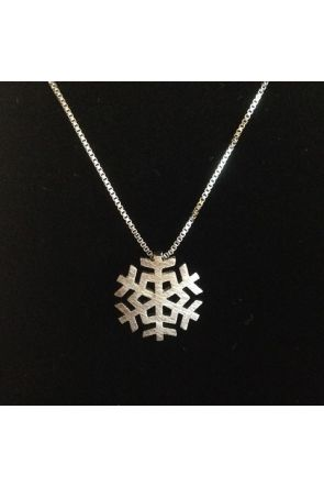 Nancy Brushed Sterling Silver Snowflake Necklace 1