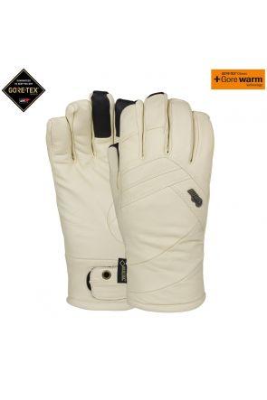 POW Stealth GoreTex Womens Leather Ski Glove White Angora