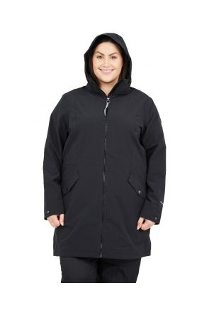 Raiski Fuchu R+ Womens Plus Size Longline Shell Jacket Black Sizes 20-28 Front