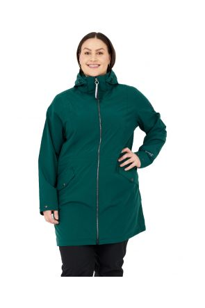 Raiski Fuchu R+ Womens Plus Size Longline Rain Shell Jacket Teal Green Sizes 20-28 Front