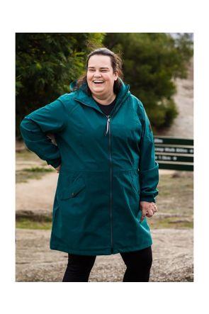 Raiski Fuchu R+ Womens Plus Size Longline Rain Shell Jacket Teal Green Sizes 20-28 Front