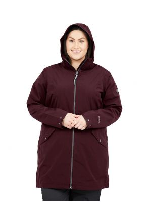 RAISKI FUCHU R+ WOMENS PLUS SIZE LONGLINE RAIN SHELL JACKET WINE RED SIZES 20-26