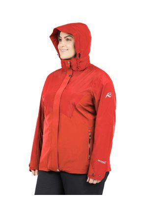 RAISKI ISALIND R+ WOMENS PLUS SIZE SHELL JACKET RED SIZES 20-28 Side with Hood