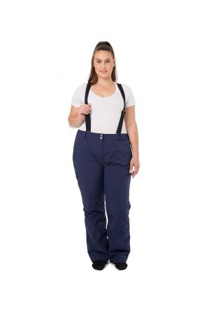 Raiski Savona Navy with Braces Curvy Womens Snow Pants Front