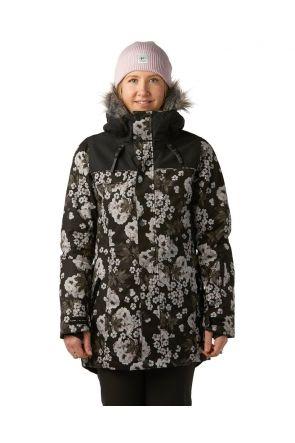 Rojo Task Womens Snow Jacket Floral True Black Front