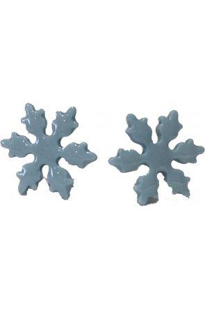 Georgie Ceramic Snowflake Stud Earrings Blue