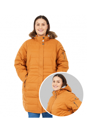 Stoy Gretl Womens Plus Size Long Snow Jacket Dark Curry Sizes 24-28 Front