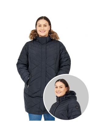 Boulder Gear Gemma Women's Plus Size Long Winter Coat Black Sizes 2XL-5XL front