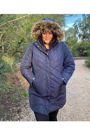 Boulder Gear Gemma Women's Plus Size Long Winter Coat Black Sizes 2XL-5XL front