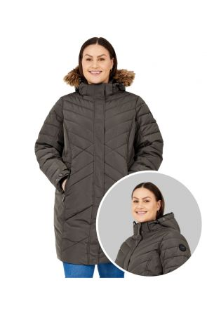 Stoy Liesl Womens Plus Size Long Snow Jacket Anthracite Sizes 20-32 Front