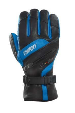 Swany X-Clusive Mens Leather Ski Gloves Black/ Blue front