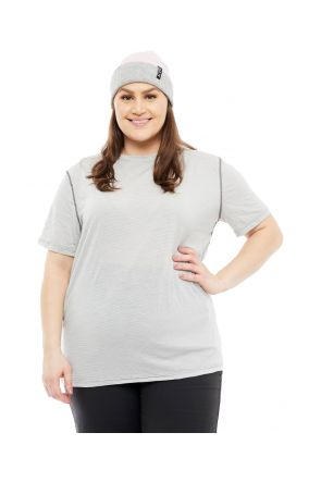 WILDERNESS WEAR UNISEX PLUS SIZE CUMULO 150 SHORT SLEEVE MERINO WOOL TEE TOP front view
