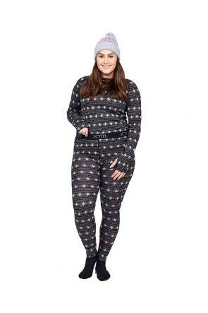 XTM Adele Merino Wool Plus Size Womens Thermal Pant Black Sizes 18-26 FRONT