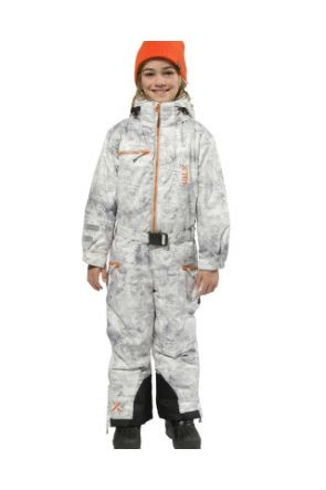 XTM Akira Kids Snow Suit All in one Grey Concrete Full Front