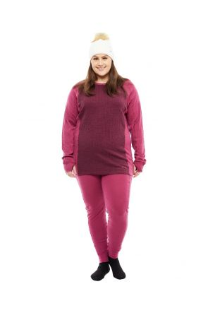 XTM Bulgaria Merino Wool Plus Size Womens Thermal Top Burgundy Sizes 18-26 Front