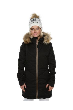 XTM Courcheval Womens Long Snow Jacket Black Front