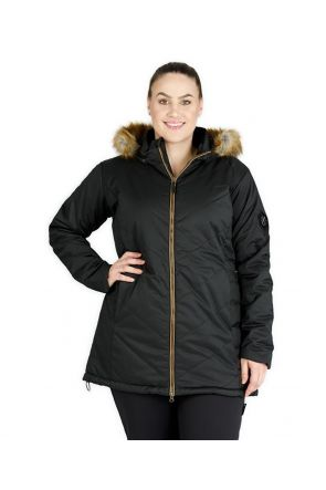 XTM COURCHEVAL WOMENS PLUS SIZE LONG SNOW JACKET BLACK 16-28