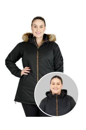 XTM COURCHEVAL WOMENS PLUS SIZE LONG SNOW JACKET BLACK 16-28