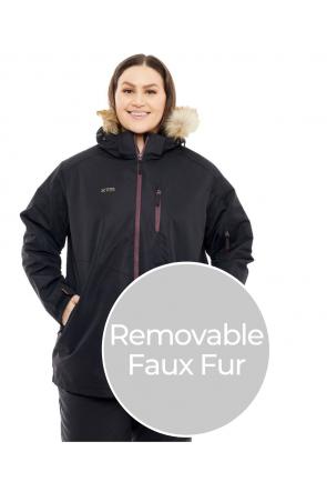 XTM Jindy 3 in 1 Womens Plus Size Snow Jacket Black Front