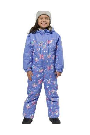 XTM Kori Kids Ski Suit All in one Cornflower Unicorn Print Full Front