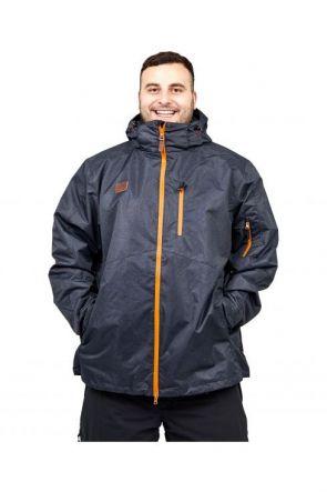 XTM Thredbo Mens 3 in 1 Plus Size Ski Jacket Black Denim 3XL-7XL front view