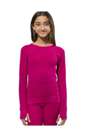 XTM Merino Wool Kids Thermal Top Crew Deep Pink 4-14 years 2019 front