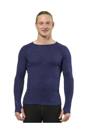 XTM Merino Wool Mens Thermal Top Navy Marle 2019 front