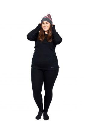 XTM Siberia Merino Wool Plus Size Womens Thermal Top Black XL-7XL front