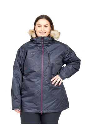XTM Olena 3 in 1 Womens Plus Size Ski Jacket Black Denim sizes 18-28 FRONT