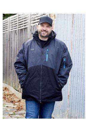 XTM Thredbo Mens 3 in 1 Plus Size Ski Jacket Black Blue 3XL-7XL Main