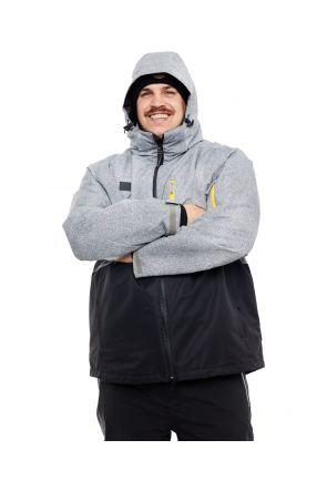 XTM Thredbo Mens 3 in 1 Plus Size Ski Jacket Black Grey 2XL-5XL Front