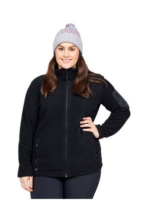 XTM Wildcat Ladies Plus Size Fleece Zip Jacket Black Sizes 18-26 FRONT