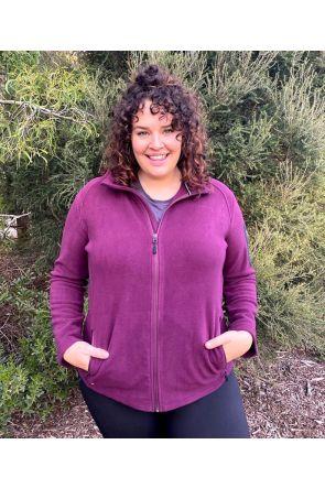 XTM Wildcat Ladies Plus Size Fleece Zip Jacket Shiraz Sizes 18-26 FRONT
