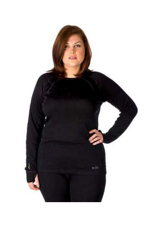 XTM Siberia Merino Wool Plus Size Womens Thermal Top Black XL-7XL front