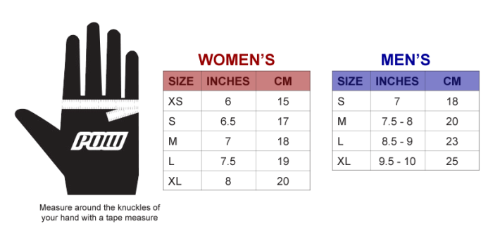 POW Ski Gloves Snowboard Gloves Size Chart